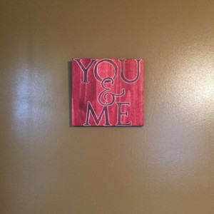 You and Me and Burned Wood Wall Hanging