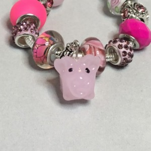 Pink European Bracelet with Pig Charm