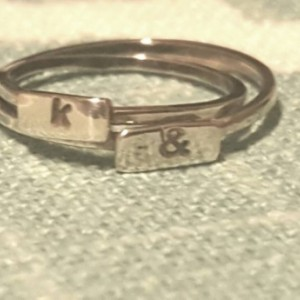 Handstamped initial ring