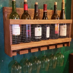 Handcrafted Wine Rack with Early American Finish