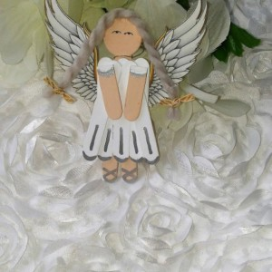 White Wood Angel Charm / Silver Accents / White Realistic Wings / Hanging Angel Art / Gift for Girl / Gift for Angel Lover
