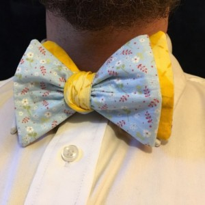 Blue floral  bow ties for men, yellow plaid bow ties, reversible bow tie, wedding ties, groomsmen ties, self tie bow tie, blue ties, yellow