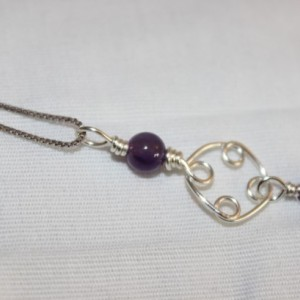 Amethyst Pendant, Amethyst Necklace, Wire Wrapped Pendant, February Birthstone Pendant, Crown Chakra, Third Eye Chakra, Zodiac Necklace