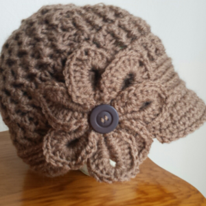 Newsboy hat with flower for teens or women