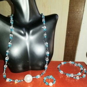 Pearl Sky Blue Crystal Necklace, Bracelet & Ring Set