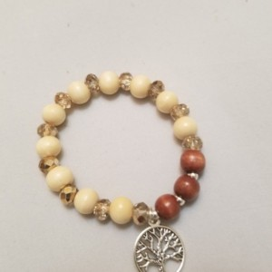 Rosary Bracelet Wood Prayer Beads Elastic Stretch Band