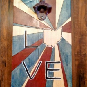 Ohio Love Bottle Opener In Red and Blue Sunburst Design on Repurposed Wood