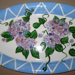 Hand painted blue and pink Easter or Spring Hydrenga platter