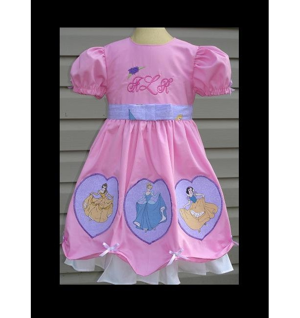 Custom Disney Pink  & Purple Multi Princess Appliqued dress with Embroidery Monogram(-----)Sizes 12M to girls size 8