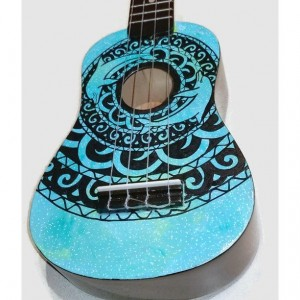 Soprano Ukulele Galaxy Dolphin Mandala, Hand Painted, Decorated Ukulele, Galaxy Paint, Dolphin Ukulele, instrument, concert, tenor, baritone