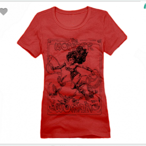 The Wonder Woman XS To XL District Brand Crew T-shirt For Women In Red With Black Ink