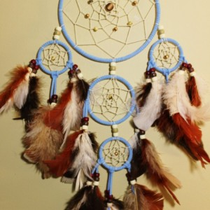 Carolina Blue Native American Dream Catcher with Beige and Brown Tone Feathers - Wall Hanging Home Decor with Brown and Bronze Beads