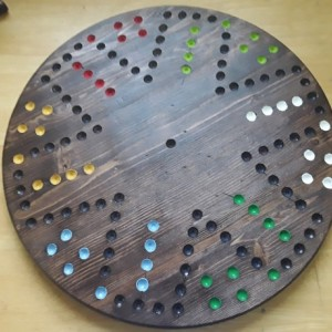 Aggravation Board Game Handmade Wooden 18 in. dia.