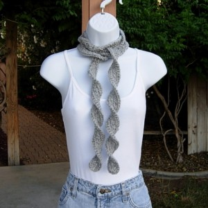 Women's Solid Light Silver Gray Grey Skinny SUMMER SCARF Small Soft Narrow Lightweight Twisted Crochet Necklace, Ready to Ship in 2 Days
