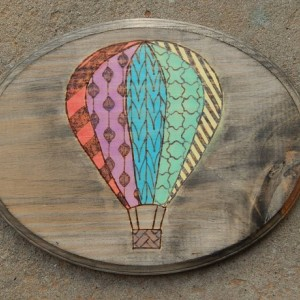Hot Air Balloon- Wood Burned and Color Stained
