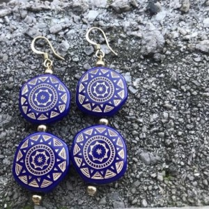 Blue and Gold  Dangling Earrings.