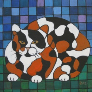 CALICO CAT acrylic painting -14x18 inch -