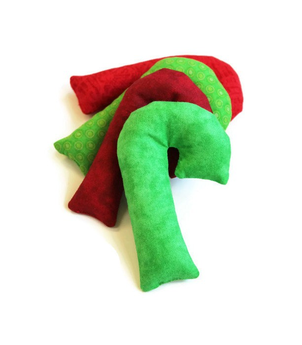 Christmas Red And Green Candy Cane Shaped Bean Bags Set