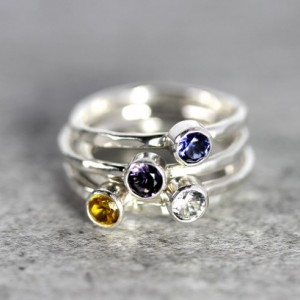 Birthstone Ring - Stacking Ring - Silver Birthstone Ring - Birthstone Jewelry
