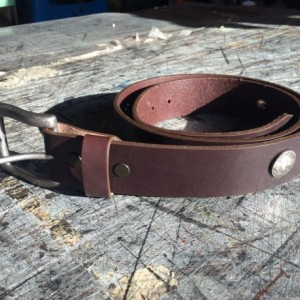 "Chocolate Genuine Leather Belt, Black Leather Belt, 8-9 oz thickness, 1-1/2"" Width, 5 Snaps, Made in America,USA,Belts,Mens Leather Belts"