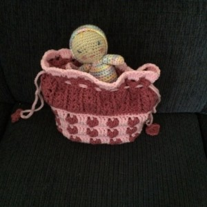 """2 in 1 Cradle/Purse and 6"""" Doll - Doll Bed/Doll Carrier - Pink/Rose- Heart Pattern"""