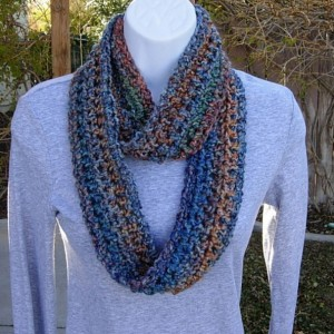 Colorful INFINITY LOOP SCARF Small Rust Blue Gold Red Teal Soft Crochet Knit Summer Skinny Endless Wrap Cowl, Petite Neck Warmer..Ready to Ship in 2 Days