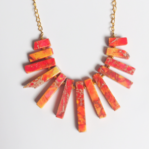 Agate Stick Bead Necklace