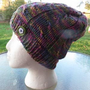 Beanie Hat Hand Knitted with Button, machine washable - SHERIDAN by Anja