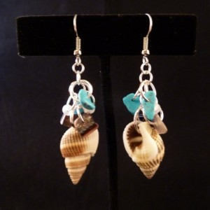 Shell with Turquoise, Sea Glass, and Shell Chip Bead Cluster Earrings