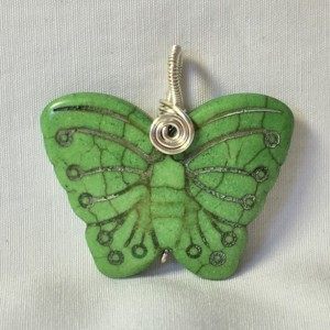 Carved Butterfly Pendant - Green