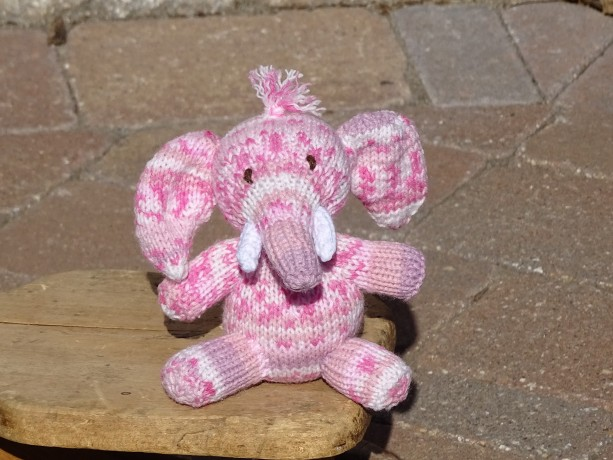 Pink Elephant, Baby Shower Gift, Knitted Toy, Stuffed Animal, Baby Girl