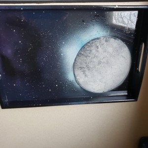 Small Spray Painting Moon Serving Tray, Resin Art, Epoxy Art, Hand Painted Tray, Galaxy Painting, Bamboo Serving Tray, Epoxy Resin Art Tray