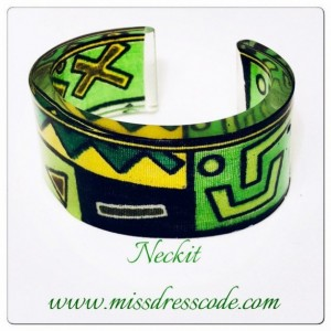 Variations of Green African Kente Print Fabric in Resin Cuff Bangle