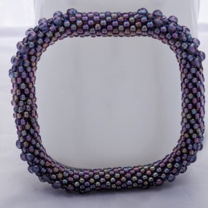Purple Iris Square Bead Crochet Bangle
