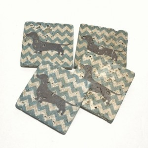 Wiener Dog Dachshund with Baby Blue Chevron Natural Stone Coasters Set of 4 with Full Cork Bottom Weiner Dog Coasters