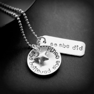 She Believed Sterling Silver Hand Stamped Necklace