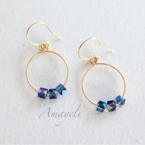 Gold hoops, hoop earrings, blue and gold earrings, beaded hoops, silver hoops, jewelry, earrings, small hoop earrings, gifts for her