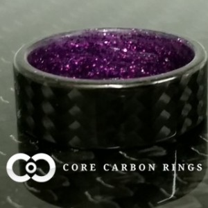 Carbon fiber twill ring with Purple sparkle inside- Gloss Finish