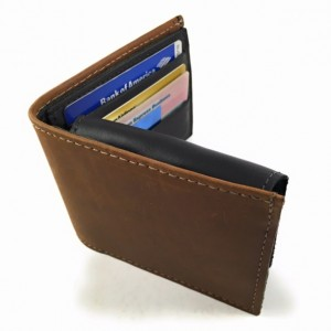 Mens Basic Bifold Wallet, Pull Out ID Sleave, ID Window, Genuine Leather, Mens Wallet, Durable Wallet, Made in USA