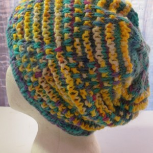 Beanie Hat Hand Knitted from Hand Dyed Yarn  - MOUNT ANGEL by Kat