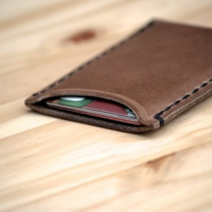 Leather Card Holder, Chromexcel Leather Card Sleeve, Horween Leather Slim Wallet, Minimalistic Leather Wallet, Men's Woman's Card Holder