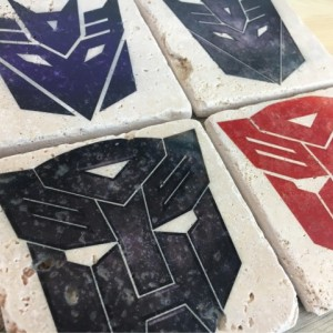 Transformers Mixed Colors Natural Stone Coasters Set of 4 with Full Cork Bottom