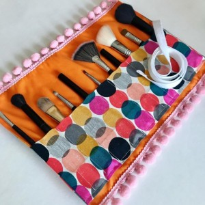 Polka Dot Multicolored Makeup Brush Roll Case with Pink Pompom Trim, Valentines Day Gift, Cosmetic Travel, Makeup Storage