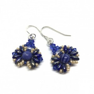 Sodalite Natural Stone and Sapphire Color Crystal Earrings on Sterling Silver Ear Hooks