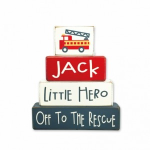 Fireman baby shower - personalized - fireman baby - wood sign