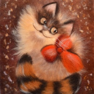 """Wool Painting """"Ginger cat"""""""