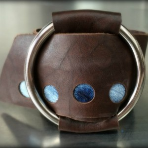 Shibori Brown Leather Wrap Cuff with Silver O Ring (Medium)