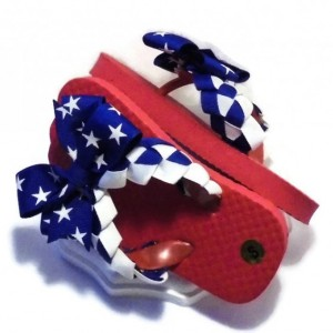 Flip Flops Red White Blue  // Girls Flip Flop Shoes - Toddler Flip Flops - Girls Sandals - Ribbon Flip Flops