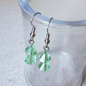 Beautiful Handmade Green Glass Dangle Drop Earrings