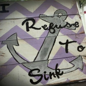 I Refuse To Sink Pallet Sign, inspirational, anchor, purple, pallet, wood, sign, wall hanging, decoration, inspirational wall art